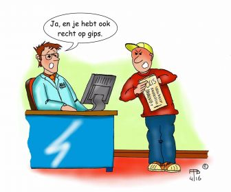 recht op gips reserve cartoon